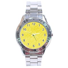 Yellow Pattern Stainless Steel Analogue Watch by Valentinaart