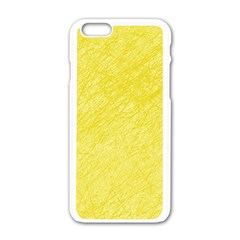 Yellow Pattern Apple Iphone 6/6s White Enamel Case by Valentinaart