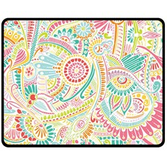 Hippie Flowers Pattern, Pink Blue Green, Zz0101 Fleece Blanket (medium) by Zandiepants