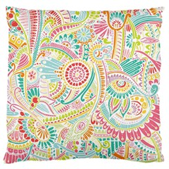 Hippie Flowers Pattern, Pink Blue Green, Zz0101 Standard Flano Cushion Case (two Sides) by Zandiepants