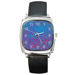 Blue Pattern Square Metal Watch by Valentinaart