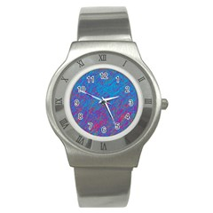 Blue Pattern Stainless Steel Watch by Valentinaart