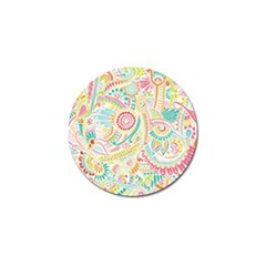 Hippie Flowers Pattern, Pink Blue Green, Zz0101 Golf Ball Marker (10 Pack) by Zandiepants