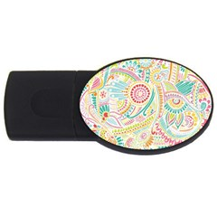 Hippie Flowers Pattern, Pink Blue Green, Zz0101 Usb Flash Drive Oval (2 Gb) by Zandiepants