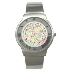 Hippie Flowers Pattern, Pink Blue Green, Zz0101 Stainless Steel Watch by Zandiepants