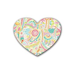 Hippie Flowers Pattern, Pink Blue Green, Zz0101 Rubber Heart Coaster (4 Pack) by Zandiepants
