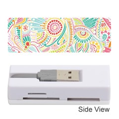 Hippie Flowers Pattern, Pink Blue Green, Zz0101 Memory Card Reader (stick) by Zandiepants