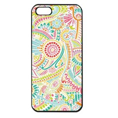 Hippie Flowers Pattern, Pink Blue Green, Zz0101 Apple Iphone 5 Seamless Case (black) by Zandiepants