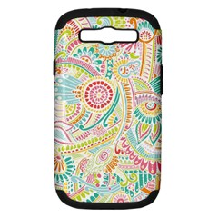 Hippie Flowers Pattern, Pink Blue Green, Zz0101 Samsung Galaxy S Iii Hardshell Case (pc+silicone) by Zandiepants