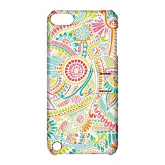 Hippie Flowers Pattern, Pink Blue Green, Zz0101 Apple Ipod Touch 5 Hardshell Case With Stand by Zandiepants