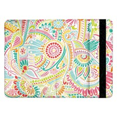 Hippie Flowers Pattern, Pink Blue Green, Zz0101 Samsung Galaxy Tab Pro 12 2  Flip Case by Zandiepants