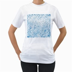 Blue Pattern Women s T Shirt (white) (two Sided) by Valentinaart