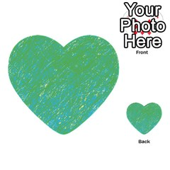 Green Pattern Multi Purpose Cards (heart)  by Valentinaart