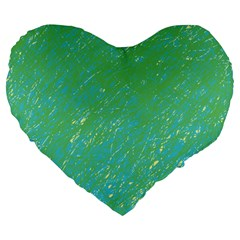 Green Pattern Large 19  Premium Flano Heart Shape Cushions by Valentinaart