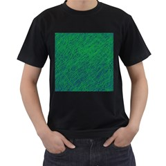 Deep Green Pattern Men s T-shirt (black) (two Sided) by Valentinaart