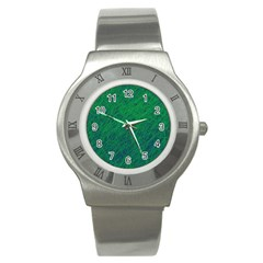 Deep Green Pattern Stainless Steel Watch by Valentinaart