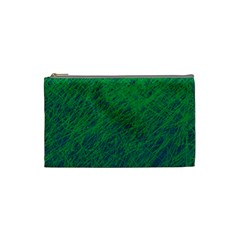 Deep Green Pattern Cosmetic Bag (small)  by Valentinaart