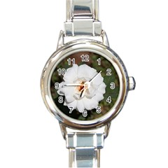 White Petal Round Italian Charm Watch by comfortzone