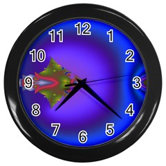 Into The Blue Fractal Wall Clocks (black)