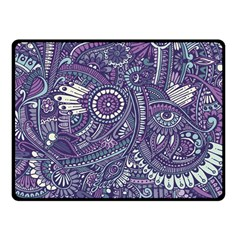 Purple Hippie Flowers Pattern, Zz0102, Double Sided Fleece Blanket (small) by Zandiepants