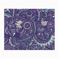 Purple Hippie Flowers Pattern, Zz0102, Small Glasses Cloth (2 Sides) by Zandiepants