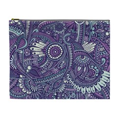 Purple Hippie Flowers Pattern, Zz0102, Cosmetic Bag (xl) by Zandiepants