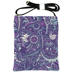 Purple Hippie Flowers Pattern, Zz0102, Shoulder Sling Bag by Zandiepants