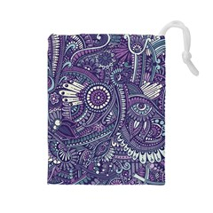 Purple Hippie Flowers Pattern, Zz0102, Drawstring Pouch (large) by Zandiepants