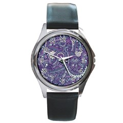 Purple Hippie Flowers Pattern, Zz0102, Round Metal Watch by Zandiepants