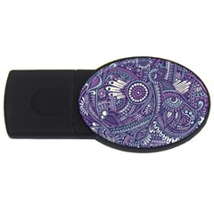 Purple Hippie Flowers Pattern, Zz0102, Usb Flash Drive Oval (4 Gb) by Zandiepants