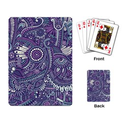 Purple Hippie Flowers Pattern, Zz0102, Playing Cards Single Design by Zandiepants