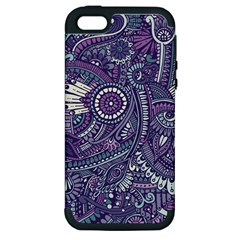 Purple Hippie Flowers Pattern, Zz0102, Apple Iphone 5 Hardshell Case (pc+silicone) by Zandiepants