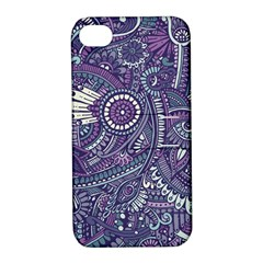 Purple Hippie Flowers Pattern, Zz0102, Apple Iphone 4/4s Hardshell Case With Stand by Zandiepants