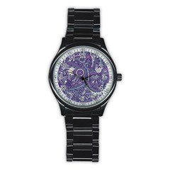 Purple Hippie Flowers Pattern, Zz0102, Stainless Steel Round Watch by Zandiepants