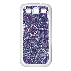 Purple Hippie Flowers Pattern, Zz0102, Samsung Galaxy S3 Back Case (white) by Zandiepants