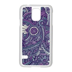Purple Hippie Flowers Pattern, Zz0102, Samsung Galaxy S5 Case (white) by Zandiepants