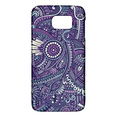 Purple Hippie Flowers Pattern, Zz0102, Samsung Galaxy S6 Hardshell Case  by Zandiepants