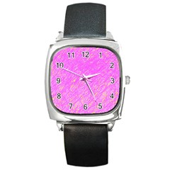 Pink Pattern Square Metal Watch
