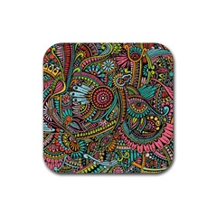 Colorful Hippie Flowers Pattern, Zz0103 Rubber Square Coaster (4 Pack) by Zandiepants