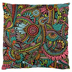 Colorful Hippie Flowers Pattern, Zz0103 Large Cushion Case (one Side) by Zandiepants