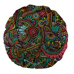 Colorful Hippie Flowers Pattern, Zz0103 Large 18  Premium Flano Round Cushion  by Zandiepants