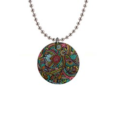Colorful Hippie Flowers Pattern, Zz0103 1  Button Necklace by Zandiepants