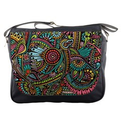 Colorful Hippie Flowers Pattern, Zz0103 Messenger Bag by Zandiepants