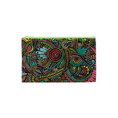 Colorful Hippie Flowers Pattern, Zz0103 Cosmetic Bag (xs) by Zandiepants