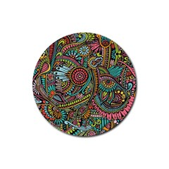 Colorful Hippie Flowers Pattern, Zz0103 Rubber Coaster (round) by Zandiepants