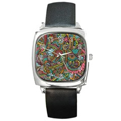 Colorful Hippie Flowers Pattern, Zz0103 Square Metal Watch by Zandiepants