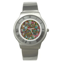 Colorful Hippie Flowers Pattern, Zz0103 Stainless Steel Watch by Zandiepants