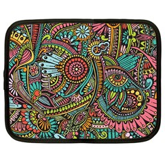 Colorful Hippie Flowers Pattern, Zz0103 Netbook Case (large) by Zandiepants