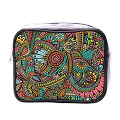 Colorful Hippie Flowers Pattern, Zz0103 Mini Toiletries Bag (one Side) by Zandiepants