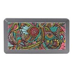 Colorful Hippie Flowers Pattern, Zz0103 Memory Card Reader (mini) by Zandiepants